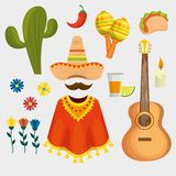 Set traditional day of the dead celebration royalty free illustration