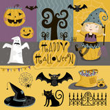 Set traditional elements of Halloween. Big set of elements of Halloween of bats, cap, ghosts, pumpkins and more Stock Photo