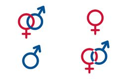 Set, traditional female and male symbols, Venus and Mars, Vector Royalty Free Stock Image