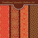 Set of Traditional Flourish Seamless Pattern Royalty Free Stock Photos