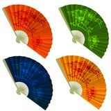 Set traditional Folding Fans with flowers Stock Photo
