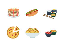 Set of traditional food icons. Delicious pictures on the theme of food, different dishes and cuisines Royalty Free Stock Photos