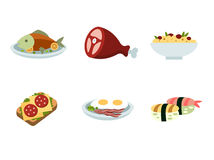 Set of traditional food icons. Delicious pictures on the theme of food, different dishes and cuisines Royalty Free Stock Photography