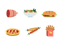 Set of traditional food icons. Delicious pictures on the theme of food, different dishes and cuisines Royalty Free Stock Images
