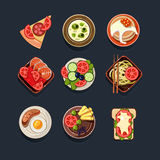 Set of Traditional Food Icons Stock Photo