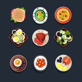 Set of Traditional Food Icons Royalty Free Stock Photos
