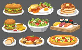 Set of traditional food. Let`s eat something delicious. Set of traditional food. Let`s eat something delicious tasty food. Icons for menu logos and labels royalty free illustration