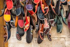 Set of traditional hand made shoes. Set of traditional hand made Yemeni shoes Royalty Free Stock Image