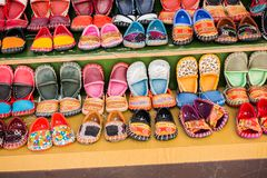 Set of traditional hand made shoes. Set of traditional hand made Yemeni shoes Stock Photo