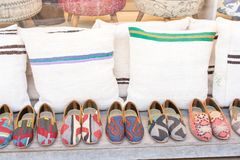 Set of traditional hand made shoes. Set of traditional hand made Yemeni shoes Royalty Free Stock Photo