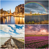 Set of Traditional Holland Landscapes Stock Photos
