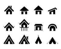 Set of traditional home icon in minimal Royalty Free Stock Photo
