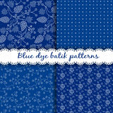 Set of traditional Hungarian blue dye batik patterns Stock Photos