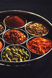 Set of traditional indian spices in metal bowls on black background Royalty Free Stock Photos