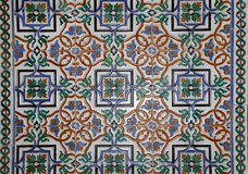 Set of traditional Islamic (Moorish) ceramic tiles, Plaza de Espana in Seville, Andalusia, Spain Royalty Free Stock Image