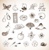 Set of traditional Japanese elements h Royalty Free Stock Photos