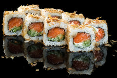 Set of traditional japanese food sushi on a dark background Stock Photo