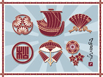 Set of Traditional Japanese Pattern Royalty Free Stock Photo