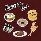 Set of traditional Korean dishes stickers. Bibimbap, guksu, gimbap, oden, galbi-gui, hotteok stock illustration