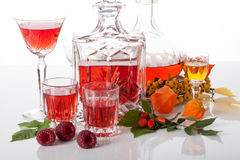 Set of traditional liqueurs Royalty Free Stock Photo