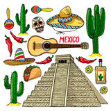 Set of traditional Mexican items royalty free illustration