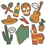 Set of traditional mexican symbols vector illustration