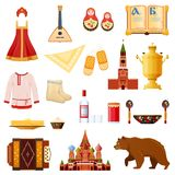 Set of traditional national objects russian culture, landmarks, symbols. Set of objects russian culture, landmarks and symbols. Traditional russian dress and Stock Images