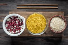 Set Traditional organic vegan ingredient Super Food in Middle East and Asian cooking cereals. Set Traditional organic vegan ingredient Super Food in Middle East Royalty Free Stock Photo