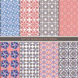 Set of traditional oriental, Indian seamless patterns. Set ethnic Seamless ornament in pink, blue, brown. stock photo