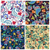 Set of  traditional oriental seamless paisley pattern.Vector. Royalty Free Stock Image