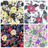 Set of traditional oriental seamless paisley patterns. Vector i Stock Photo