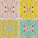 Set of traditional ornamental paisley bandanna. Hand drawn background with artistic pattern. Bright colors. Royalty Free Stock Images