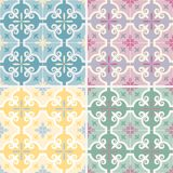 Set of traditional ornate portuguese and brazilian tiles azulejos. Vector illustration. 4 color variations. Set of 4 color variations of traditional ornate Stock Photography