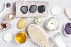Set of traditional spa products Royalty Free Stock Image