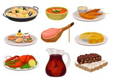 Flat vector set of traditional Spanish food and drink. Paella, refreshing gazpacho soup, grilled chicken with sauce vector illustration