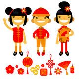 Set of traditional symbols and characters of Chinese New Year. Two girls and boy. Vector illustration of flat design Stock Photography