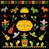 Set of traditional symbols for cinco de mayo. Fiesta. Sombrero and maracas, tequila bottle and cocktails, taco and pinata also cactus mariachi. Festive vector royalty free illustration