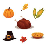 Set of traditional thanksgiving symbols Royalty Free Stock Photos