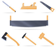 Set traditional tools of the carpenter. Set of traditional tools of the carpenter, with wooden handle, vector illustration  on white Royalty Free Stock Images