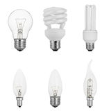 Set of traditional tungsten light bulbs isolated on white Royalty Free Stock Photo