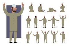 Set of traditionally clothed muslim character poses and emotions. Cartoon style, islam dress code. Vector flat illustration Stock Photo