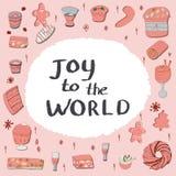Set tradycyjni świąteczni desery z nutową radością świat royalty ilustracja