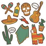 Set tradycyjni Meksykańscy symbole ilustracja wektor