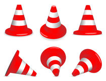 Set of traffic-cones. Set of red and white standing and fallen traffic-cones Stock Images