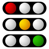Set of traffic lamp, traffic light, semaphore icons. Royalty free vector illustration Royalty Free Stock Photo