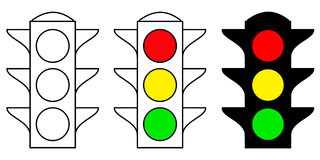 Set traffic light interface icons. Red, yellow and green yes, no and wait Royalty Free Stock Photography