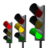 Set of traffic lights. Vector illustration of green, yellow and red traffic lights. Detailed portrayal Stock Image