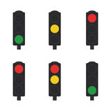 Set of traffic lights. Flat set of traffic lights. Vector illustration Royalty Free Stock Photography
