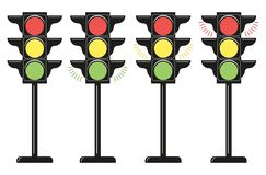 Set traffic lights, icons. Flat design style. Vector elements isolated on light background. royalty free illustration
