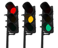Set of Traffic Lights Isolated on White Stock Image